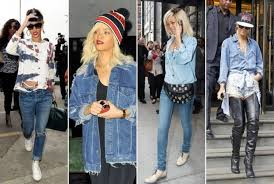 Rihanna rocking 90s inspired denim